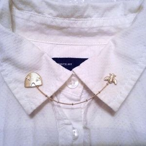 Gold Bee And Beehive Collar Pins Sweater Clips